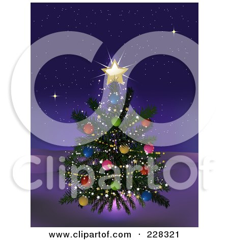 Royalty-Free (RF) Clipart Illustration of a Decorated Christmas Tree With A Glowing Gold Star Outdoors On A Winter Night by elaineitalia