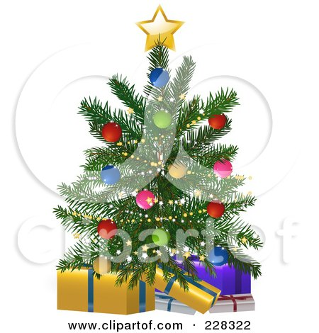 Royalty-Free (RF) Clipart Illustration of a Small Christmas Tree Over Wrapped Presents by elaineitalia