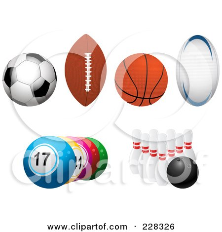 Royalty-Free (RF) Clipart Illustration of a Digital Collage Of Soccer, Football, Basketball, Rugby, Lottery And Bowling Balls by elaineitalia