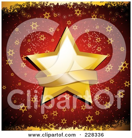 Royalty-Free (RF) Clipart Illustration of a Golden Christmas Star With A Blank Banner Over Red With Golden Grunge by elaineitalia
