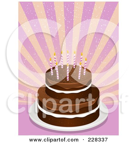 Royalty-Free (RF) Clipart Illustration of a Tiered Chocolate Cake With Pink Birthday Candles Over Pink And Yellow Rays
