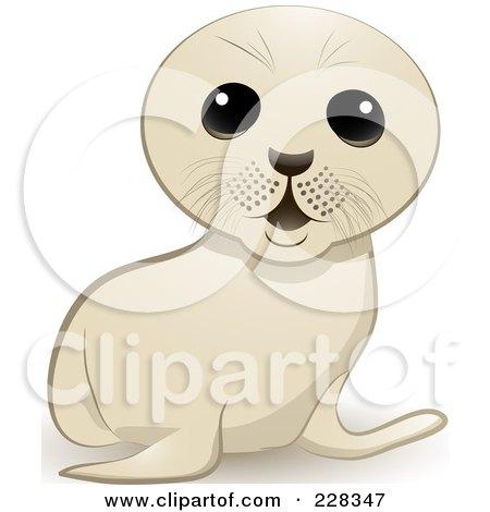 Royalty-Free (RF) Clipart Illustration of a Cute White Seal Cub by elaineitalia