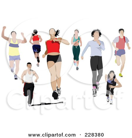 Royalty-Free (RF) Clipart Illustration of a Digital Collage Of Joggers by leonid