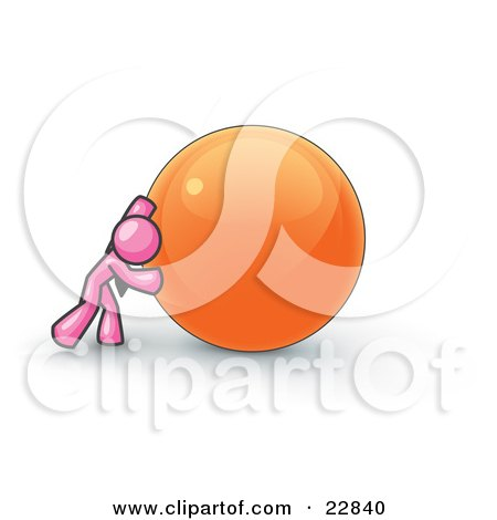 Clipart Illustration of a Strong Pink Business Man Pushing an Orange Sphere  by Leo Blanchette