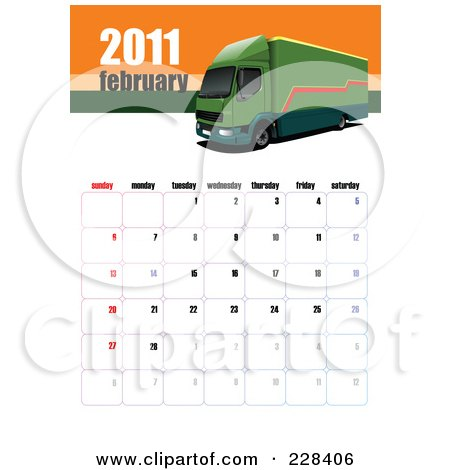Royalty-free clipart illustration of a February 2011 big rig calendar.
