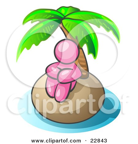 Clipart Illustration of a Pink Man Sitting All Alone With A Palm Tree On A Deserted Island by Leo Blanchette
