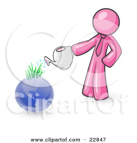Clipart Illustration of a Pink Man Using A Watering Can To Water New Grass Growing On Planet Earth, Symbolizing Someone Caring For The Environment by Leo Blanchette