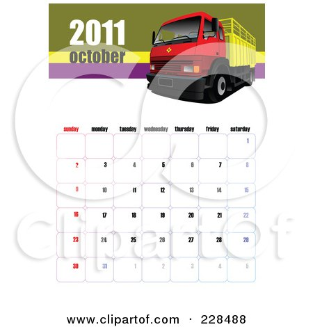 calendar october 2011. of an October 2011 Big Rig