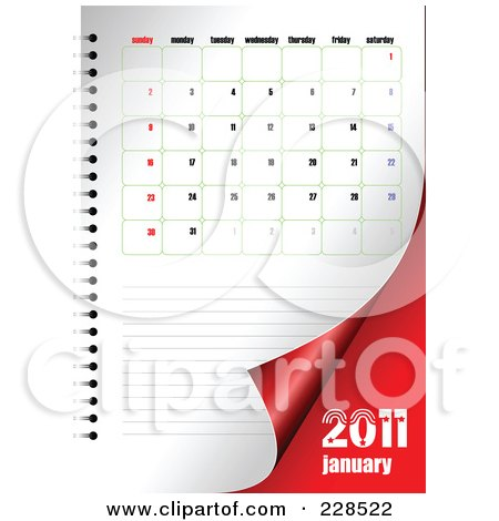 Royalty-free clipart illustration of a turning January 2011 calendar and