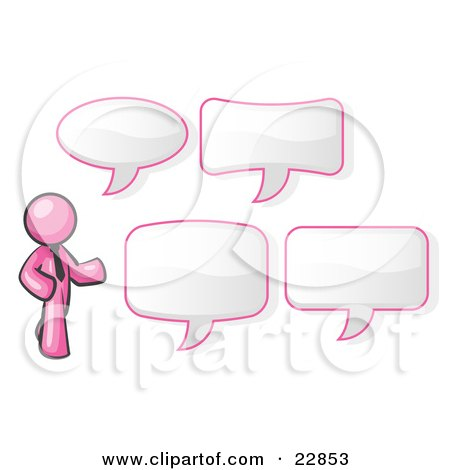 Clipart Illustration of a Pink Businessman With Four Different Word Bubbles by Leo Blanchette