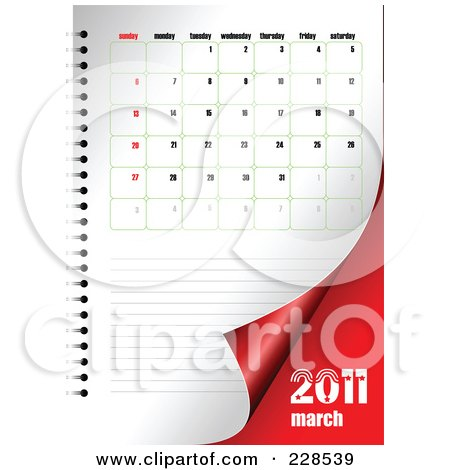 clipart illustration of a turning March 2011 calendar and planner page.