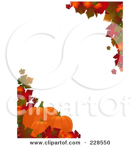 Royalty-Free (RF) Clipart Illustration of a Vertical Border Of Autumn Leaves And Three Pumpkins Around White Copyspace by elaineitalia