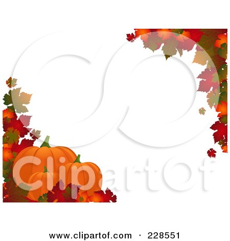 Royalty-Free (RF) Clipart Illustration of a Horizontal Border Of Autumn Leaves And Three Pumpkins Around White Copyspace by elaineitalia