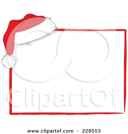 Royalty-Free (RF) Clipart Illustration of a Santa Hat On The Corner Of A White Sign With Red Trim by yayayoyo