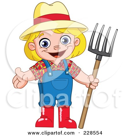 cartoon girl farmer. a Happy Blond Girl Farmer
