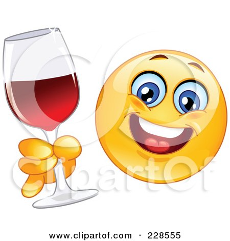 Royalty-Free (RF) Clipart Illustration of a Happy Emoticon Holding A Glass Of Red Wine by yayayoyo