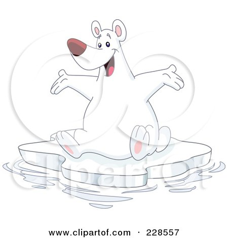 Royalty-Free (RF) Clipart Illustration of a Happy Polar Bear Sitting On An Iceberg And Holding His Arms Out by yayayoyo