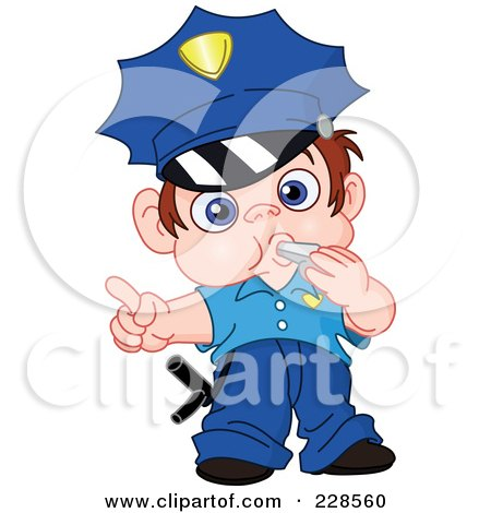 Royalty-Free (RF) Clipart Illustration of a Little Police Boy Blowing A Whistle by yayayoyo