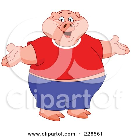 Royalty-Free (RF) Clipart Illustration of a Fat Pig Wearing Clothes, Standing Upright With Open Arms by yayayoyo