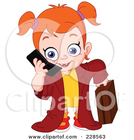 Royalty-Free (RF) Clipart Illustration of a Red Haired Girl Dressed Up As A Businesswoman And Using A Cell Phone by yayayoyo
