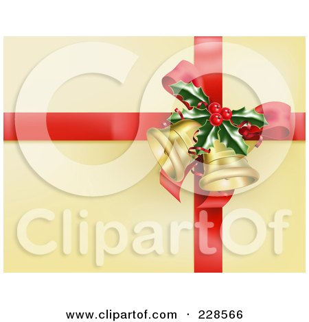 Royalty-Free (RF) Clipart Illustration of a Red Ribbon With Holly And Christmas Bells On Golden Wrapping Paper by AtStockIllustration