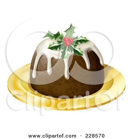 Royalty-Free (RF) Clipart Illustration of a 3d Christmas Pudding Topped With Holly And Berries, On A Gold Plate by AtStockIllustration