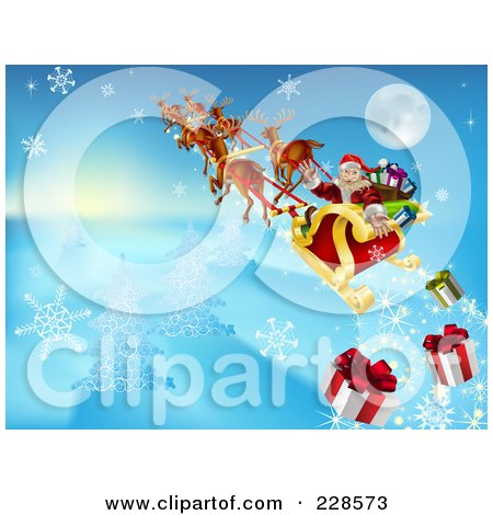 Royalty-Free (RF) Clipart Illustration of Santa Looking Back And Dropping Christmas Gifts As He Flies In His Sleigh by AtStockIllustration