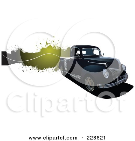 Royalty-Free (RF) Clipart Illustration of a Vintage Pickup Truck Grunge Banner by leonid