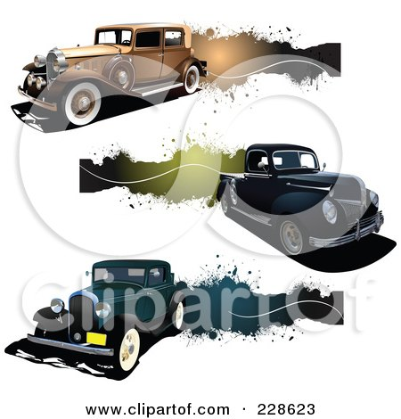 Royalty-Free (RF) Clipart Illustration of a Digital Collage Of Vintage Car, Truck And Grunge Banners by leonid