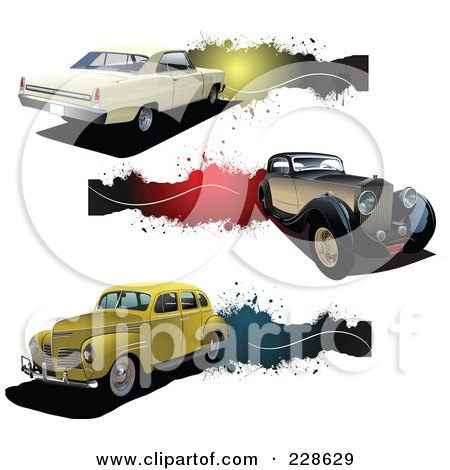 Royalty-Free (RF) Clipart Illustration of a Digital Collage Of Vintage Car And Grunge Banners by leonid