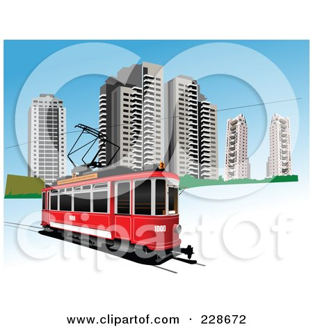 Royalty-Free (RF) Clipart Illustration of a Public Tram - 1 by leonid