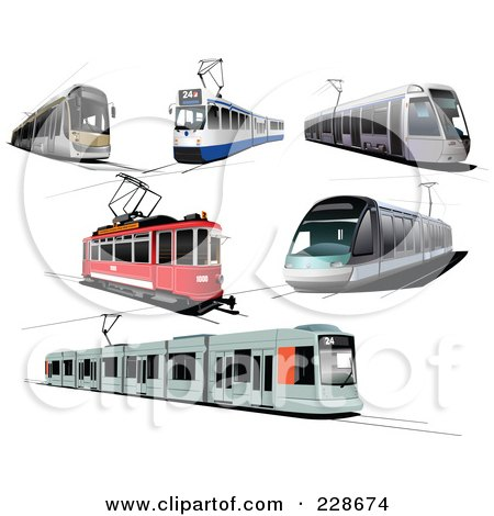Royalty-Free (RF) Clipart Illustration of a Digital Collage Of Public Trams by leonid