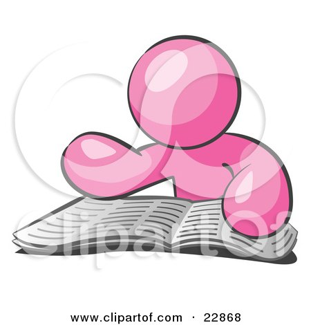 Clipart Illustration of a Pink Man Character Seated And Reading The Daily Newspaper To Brush Up On Current Events by Leo Blanchette