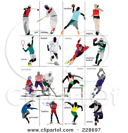 Royalty-Free (RF) Clipart Illustration of a Digital Collage Of Athletes - 2 by leonid