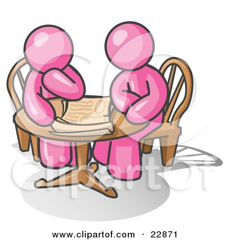 Clipart Illustration of Two Pink Businessmen Sitting at a Table, Discussing Papers by Leo Blanchette