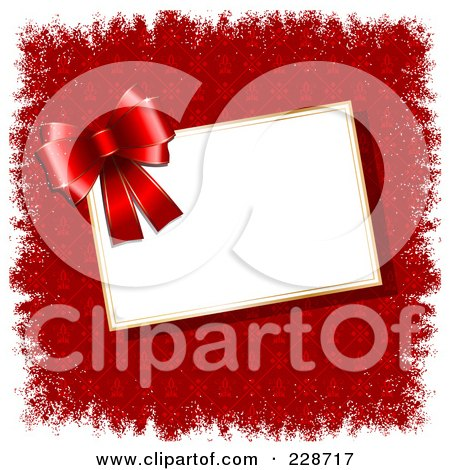 Royalty-Free (RF) Clipart Illustration of a Red Bow Over A Blank Tag On Red Fleur De Lys And White Grunge Borders by KJ Pargeter