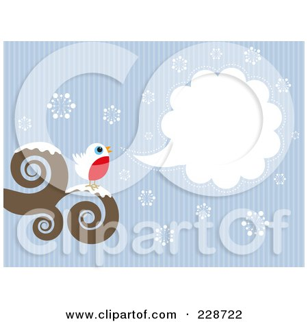Royalty-Free (RF) Clipart Illustration of a Cute Robin Bird Perched On A Swirl Branch With A Word Balloon Over Snowflakes And Blue Lines by KJ Pargeter