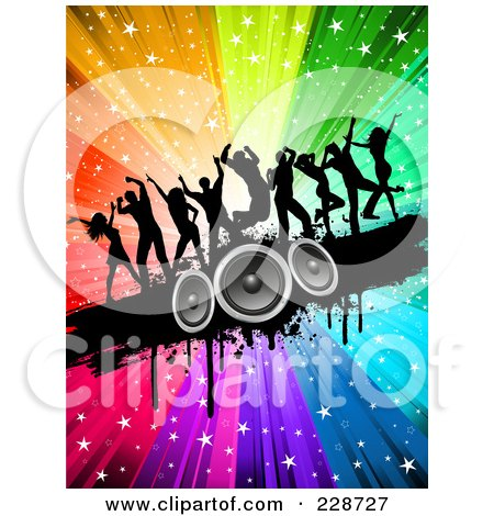 Royalty-Free (RF) Clipart Illustration of Silhouetted Dancers On A Black Grunge Speaker Bar Over A Starry Rainbow Burst by KJ Pargeter