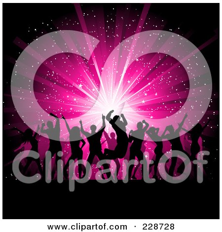 Royalty-Free (RF) Clipart Illustration of a Background Of Silhouetted Dancers Against A Pink Burst by KJ Pargeter