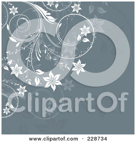 Royalty-Free (RF) Clipart Illustration of an Ornate White Floral Vine Over Gray by KJ Pargeter