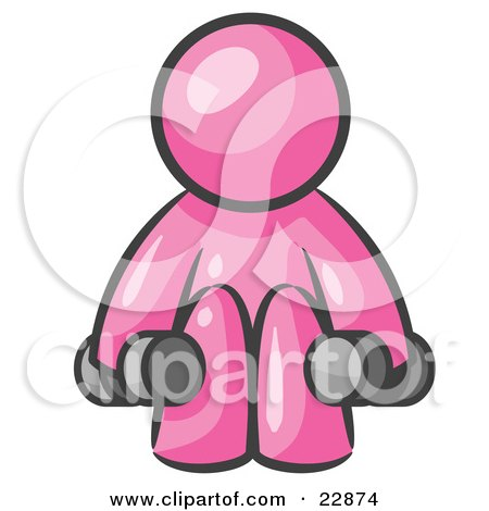 Clipart Illustration of a Pink Man Lifting Dumbells While Strength Training by Leo Blanchette