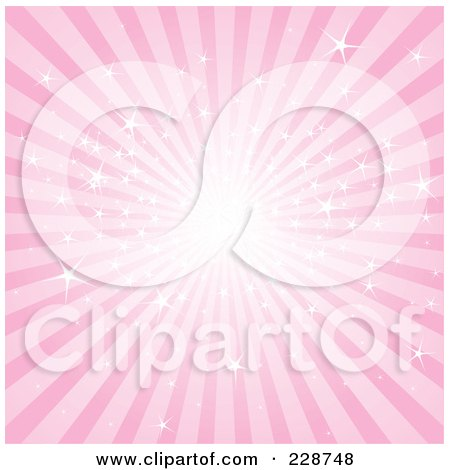 Royalty-Free (RF) Clipart Illustration of a Pink Sparkly Burst of Rays by Pushkin