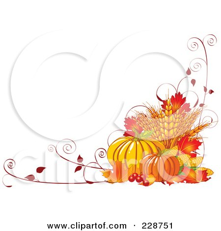 Fall Harvest Background Of Wheat, Pumpkins, Vines And Autumn Leaves With Copyspace Posters, Art Prints