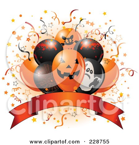 Royalty-Free (RF) Clipart Illustration of Halloween Balloons And A Blank Banner by Pushkin