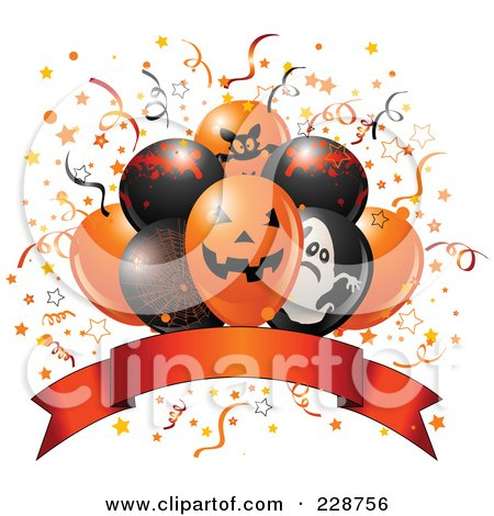 Royalty-Free (RF) Clipart Illustration of Halloween Balloons Over A Blank Banner by Pushkin