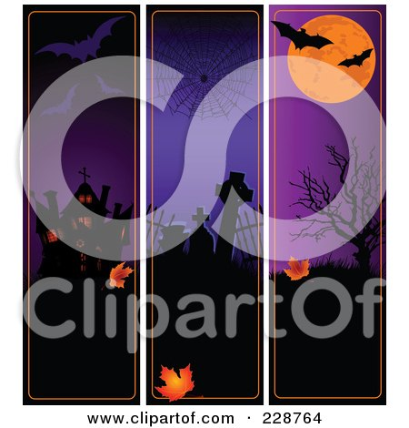 Royalty-Free (RF) Clipart Illustration of a Digital Collage Of Spooky Vertical Halloween Borders by Pushkin