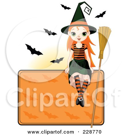 Royalty-Free (RF) Clipart Illustration of a Witch Girl Sitting On A Blank Halloween Sign With Bats by Pushkin