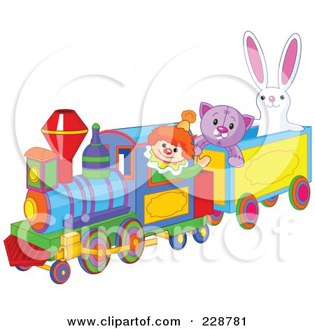 Royalty-Free (RF) Clipart Illustration of Toys Riding On A Train by Pushkin