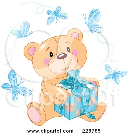 Teddy Bear Gift on Teddy Bear Sitting With A Blue Gift Surrounded By Butterflie    By