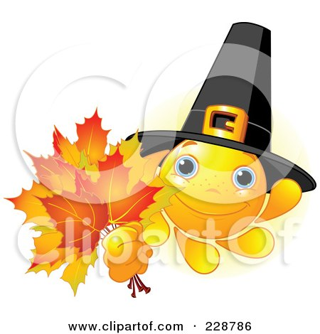 Royalty-Free (RF) Clipart Illustration of a Pilgrim Sun Character Holding Fall Leaves by Pushkin